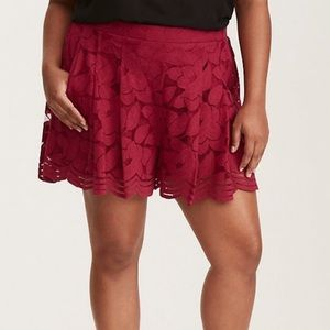 Torrid Red Floral Lace Shorts